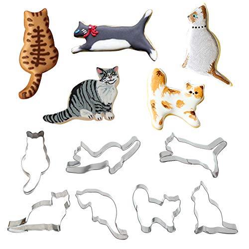 Juego de 7 cortadores de galletas para gatos, gatos sentados, gatos corrientes, gatos juguetones, gatitos y gatos rizados en forma de fondant – en acero inoxidable duradero