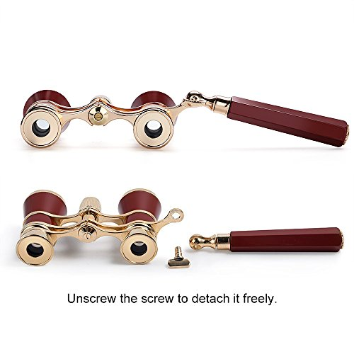 Opera Glasses/Binoculars w 3 x 25 in, for Travel Hiking Bird Watching Adults Kids (Lorgnette, with Handle- Red)