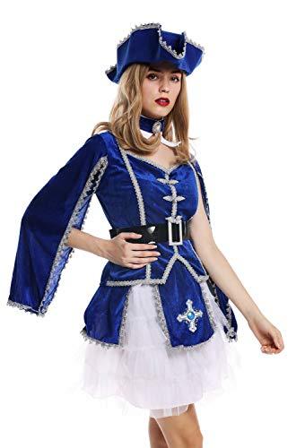 dressmeup - W-0284 Costume dame femme carnaval baroque soldat mousquetaire femme chapeau bleu S