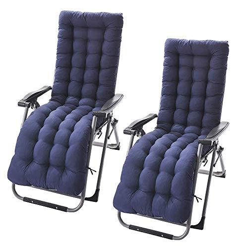 Your's Bath Sun Lounger Cushion Garden Recliners Pad 2 Pcs Blue Relaxer Chair Cover con 6 Pares de Correas y una Cubierta Antideslizante para la Cabeza, Relleno de EPE portátil Acolchado par