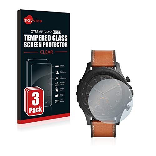 Savvies Panzerglas kompatibel mit Fossil Q Nate (3 Stück) - Echt-Glas, 9H Festigkeit, Anti-Fingerprint