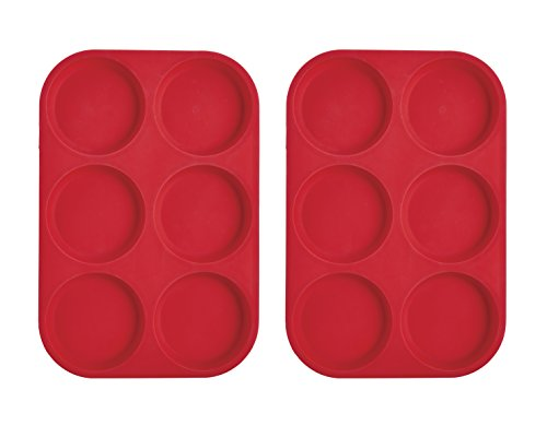 Mrs. Anderson's Baking 43817 6-Cup Muffin Top Pan, Non-Stick European-Grade Silicone, Set of 2