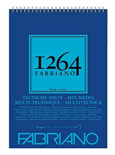 Unbekannt Honsell 19100644 Fabriano Mix 1264-Cuaderno de espiral (300 g/m², DIN A3, 30 hojas de papel blanco natural, grano medio, sin ácidos, apto para todas las técnicas de múltiples diseños)