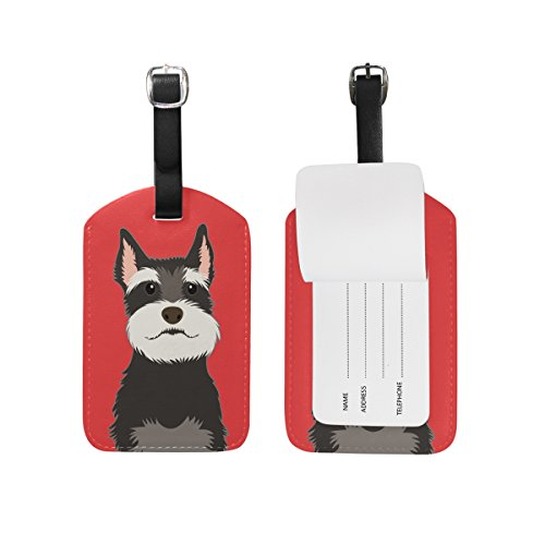 My Daily Schnauzer Dog Luggage Tag PU Leather Bag Tag Travel Suitcases ID Identifier Baggage Label 1 Piece