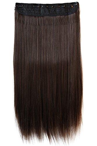 PRETTYSHOP Clip In Extensions Haarverlängerung Haarteil Glatt 60cm dunkelbraun mix #2/33 C58