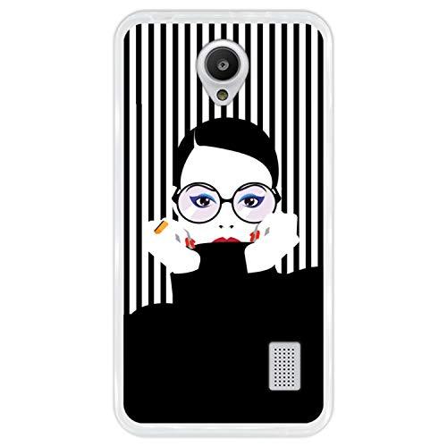 Funda Transparente para [ Huawei Y635 ] diseño [ Moda Mujer en Estilo Pop Art ] Carcasa Silicona Flexible TPU