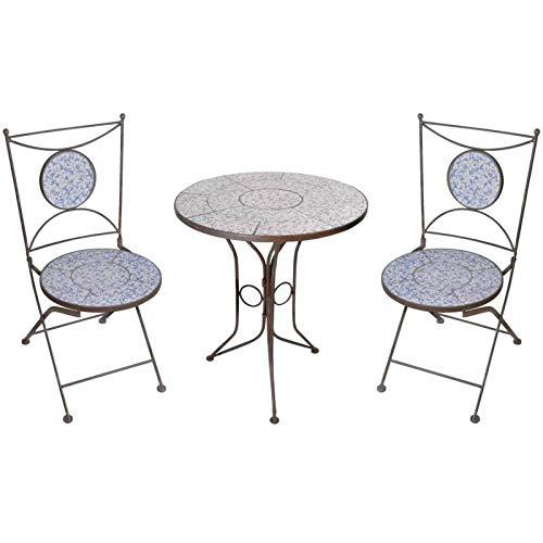 L'Héritier Du Temps Salon de Jardin avec Sublime Mosaïque Antique Table de Bistrot et 2 Chaises Pliantes en Acier Marron et Motifs Céramique Bleue