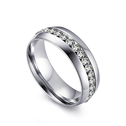 JEWELSMART .925 Sterling Silver American Diamond Band Ring for Women (White)