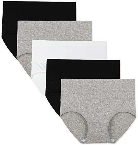 INNERSY Bauchweg Unterhose Damen Baumwolle Taillenslip Schwarz Weiß Panties Mehrpack 5 (S, Schwarz/Weiß/Grau)