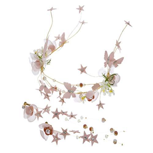Beaupretty 1 Ensemble Casque de Mariée Bandeau de Mariage Papillon Floral Cheveux Perlés Vigne Couronne Guirlande Couronne Bijoux Ornement de Cheveux avec Boucles D'oreilles pour La Fête (Rose)