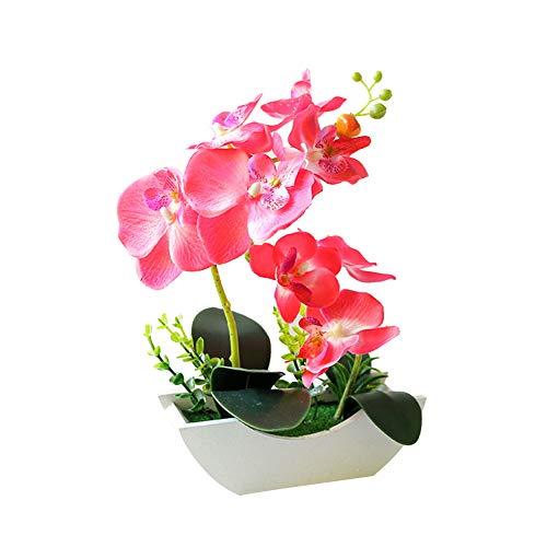 Walbest Artificial Flower Butterfly Orchid Wooden Boat Shape Pot Bonsai Party Desk Decor - Pink
