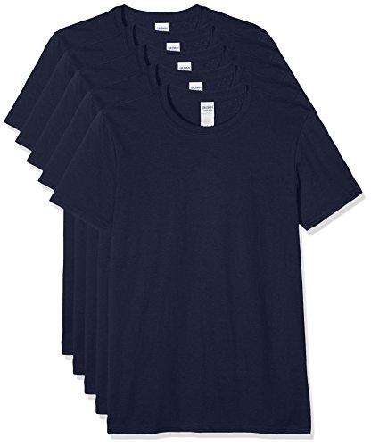 Gildan Herren 64000 T-Shirt, blau (Marineblau), M (5er Pack)