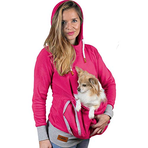 Pet Pouch Hoodie - Cat Dog Holder Cuddle Sweatshirt - Large Kangaroo Carrier Pocket - No Ears Paws - Womens Fit (Pink, X-Small) - Roodie