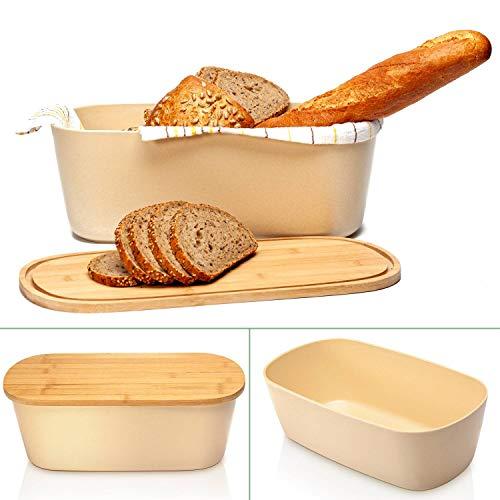 bambuswald© Brotbox mit integriertem Schneidebrett 38x21,5x12 cm - Brotdose   Brotkasten für Croissants, Brot o. Brötchen   Brotbehälter mit Küchenbrett   Brotbrett Natur