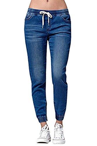 Ybenlover Damen High Waist Jeans Straight Slim Denim Stretch Lang Jeanshosen Mit Gummizug, Dunkelblau, XL