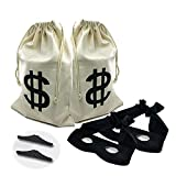 2 set Canvas Money Bag Pouch with Drawstring Closure and Dollar Sign Design for Toy Party Favors, Bank Robber Cowboy Pirate Theme,Robber Costume Black Eye Mask and Men's Zorro Novelty Moustache6pcs)