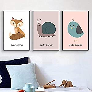 Empty LPYYY Animal Fox Snail Canvas Painting Child Poster and Print Modern Nursery Picture Baby Room Decor-40x60cmx3 pcs no Frame