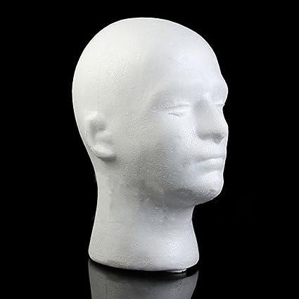 shlutesoy Male Mannequin Styrofoam Foam Manikin Head Model Wig Glasses Hat Display Stand White