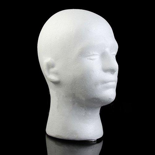 RIsxffp Cabeza de Maniquí,Maniquí masculino espuma de espuma de poliestireno maniquí cabeza modelo peluca gafas sombrero soporte de exhibición White