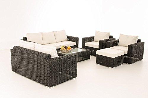 Mendler 3-2-1-1 CP050 - Juego de muebles de jardín (polirratán), color negro