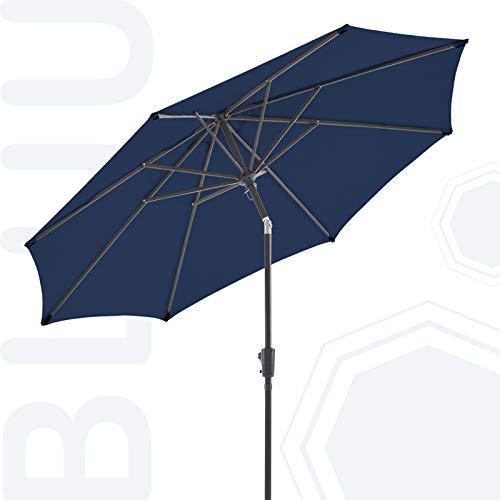 BLUU Olefin 9 FT Patio Market Umbrella Outdoor Table Umbrellas, 3-Year Nonfading Olefin Canopy, Market Center Umbrellas with 8 Strudy Ribs & Push Button Tilt for Garden, Lawn & Pool (Navy Blue)