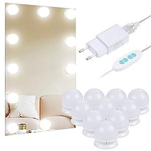 Anpro Luces LED Kit de Espejo con 10 Bombillas regulables,3 Modos Ajustable de Color de Luz,Luz Espejo Maquillaje,Tocador,Espejo,Baño,Regalo para Fiesta,Cumpleaños,Aficionados de Maquillarse