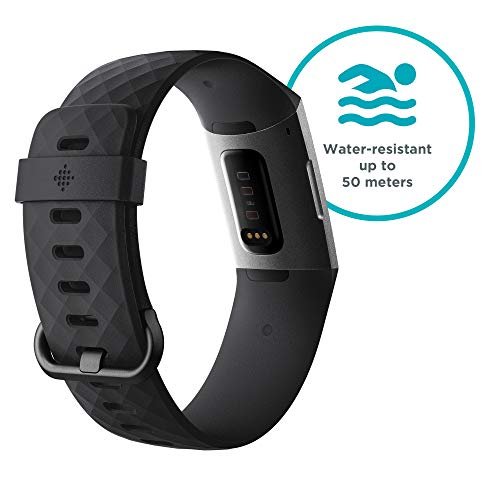 Fitbit Charge 3 Advanced Fitness Tracker with Heart Rate, Swim Tracking & 7 Day Battery - Graphite/Black, One Size