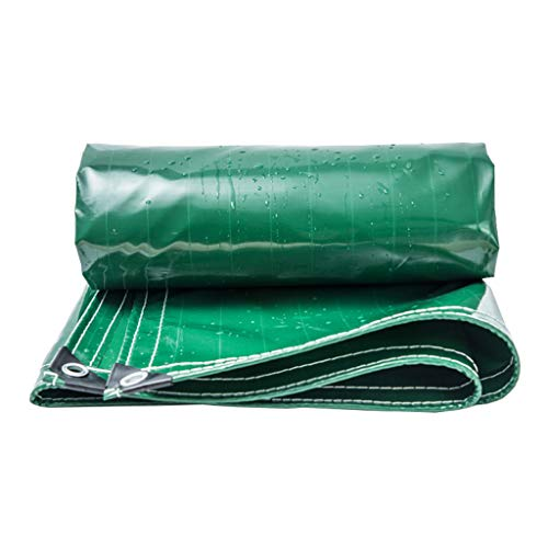 LAXF-Tarps Tarpaulin with Eyelets - Waterproof, Lightweight, Compact, Strong and Ripstop Tarp Tarpaulin for Pool Camping Driveway Water Slide Weeds Weight 400g/㎡ Green