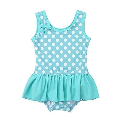 iEFiEL Baby Girls Cute Polka Dot Bow Ruffle Swimsuit Swimwear One-Piece Bathing Suit Lake Green 6-9 Months