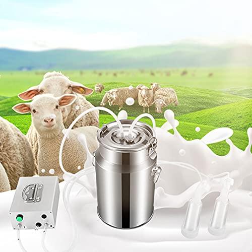 Elektrische Melkmaschine, TELAM 7L Ziegen Melker Doppelkopf Schaf Melkmaschine Edelstahl Vakuum Pulsations Milchpumpe Mit Pumpen und ReinigungsbürsteHaushalts, für die Schaf & Ziegenhaltung