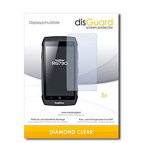 disGuard 3 x Schutzfolie Ruggear RG730 Bildschirmschutz Folie DiamondClear unsichtbar