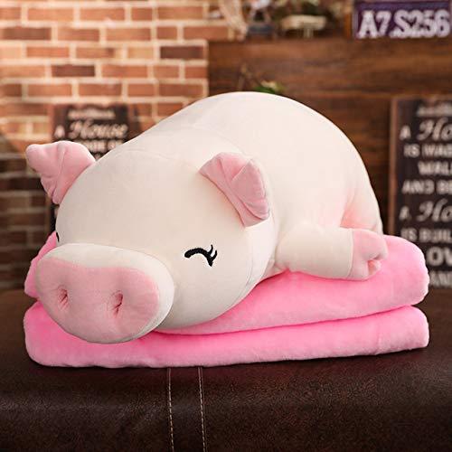 Muñeco de peluche de cerdo blando gigante, juguete de cerdito de peluche acostado, animales de color rosa blanco, juguetes de peluche suave, manta para calentar las manos, regalo para niños ojos blancos cerrados 38cm