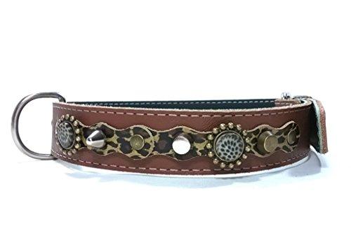 Hunde-Halsband, Handmade Braun Leder für Mittelgroße und Große Hunde, Leopard Camouflage Leder, Steine und Schöne Nieten, 55 cm X: Halsumfang 40-45 cm, Breit 28mm