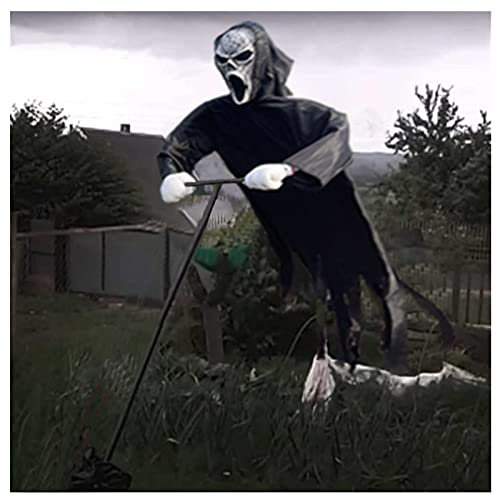 AWEIR Decoración de Halloween Grito Espantapájaros,Scary Hanging Ghostface Fantasma Scarecrow Jardín Decoración de Patio, Meciéndose en El Viento para Atmósferas de Fiesta Temática de Terror
