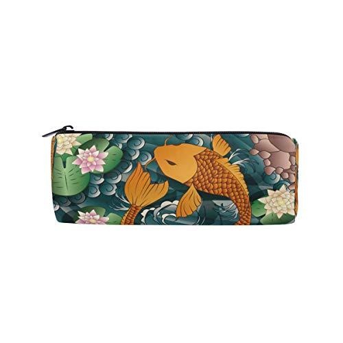 Bonie - Estuche japonés con diseño de pez koi y flor de loto para lápices
