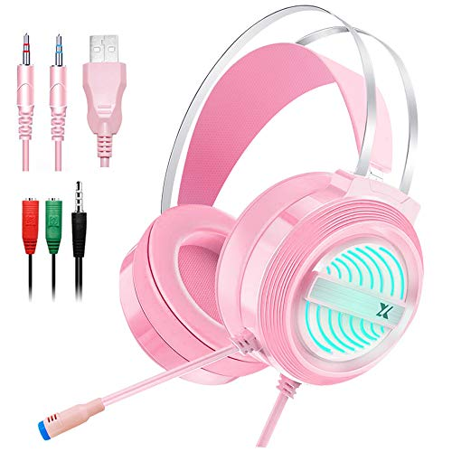 Dland Gaming Headset with Mic and Changeable LED Light for Laptop,Computer, Cellphone, PS4 and Xbox, 3.5mm Wired Noise Isolations Gaming Headphones with Volume Control-Pink
