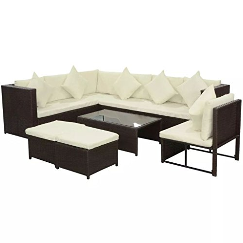 SENLUOWX Ensemble de canapé de jardin en rotin synthétique marron 29 pièces