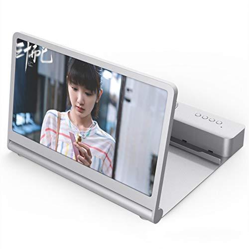 WEIXINMWP Nuevo Amplificador de teléfono móvil F12 12 Pulgadas Bluetooth Dual Altavoces Video Chase HD Pantalla Amplificador,Blanco