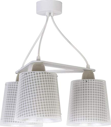Dalber kinderen plafondlamp 3 lampen Vichy beige 60W Malve
