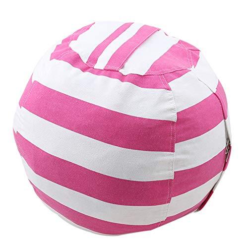 Ciujoy Children Storage Bean Bag, 24' in Diameter Large Capacity Canvas Stripe Stuffed Animal Toys Clothes Quilts Organizer Bean Bag Chair Home Decor for Kids Boys Girls Gift - Pink