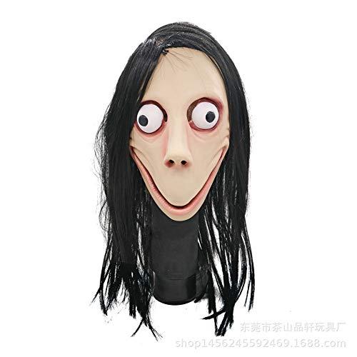 ROHXNK MOMO Maske Gruselige Maske Gruselige Kostüme Party Latex Halloween Weibliche Geister Perücke Maske,B