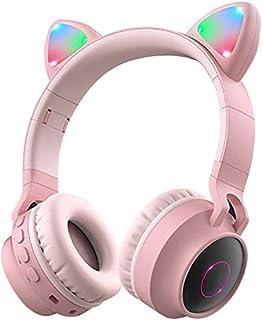 Padom Wireless Bluetooth Kids Headphones, Cat Ears Bluetooth Over Ear Headphones Volume Limiting,LED Lights, FM Radio, TF ...
