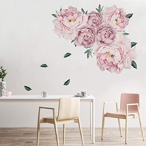 Calcomanías de pared de flores Pegatinas de pared florales de acuarela para habitación de niñas, carteles de pared de peonía de flor rosa, murales de arte de flores de peonías grandes para sala de es