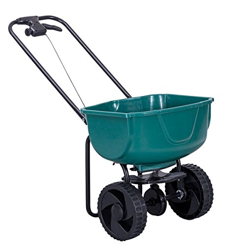 Goplus Broadcast Spreader Builder Fertilizer Push Walk Behind, Garden Seeder Salt Spreader (Green+ 15000 sq ft)
