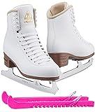 Jackson Ultima JS1490 Mystique Womens Figure Ice Skates/Color: White/Width: Medium/Size: Adult 8.5 Bundle with Guardog Skate Guards