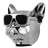 Huachaoxiang Altavoz Bluetooth, Bulldog Francés, Altavoz De Cobre del Perro Bluetooth, Super Bass Al Aire Libre Mini Lindo Altavoz Portátil Inalámbrico,Plata