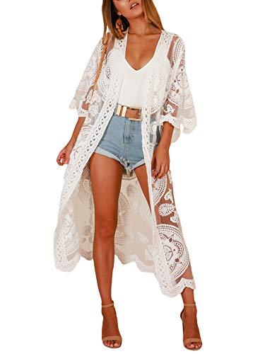 Vestido de playa para mujer, de manga larga, con bordado, de encaje, para vacaciones