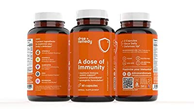 A Dose of Immunity Immune Support Supplement for Respiratory Health & Wellness Bioflavanoids Vitamin C Vitamin D Zinc Quercetin B Vitamins Echinacea Bromelain for Antioxidant Vegan Non GMO (3 Pack)
