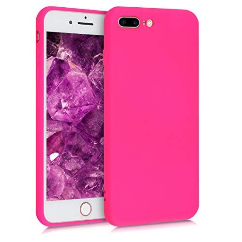 kwmobile Funda Compatible con Apple iPhone 7 Plus / 8 Plus - Carcasa de Silicona TPU para móvil - Cover Trasero en Rosa neón