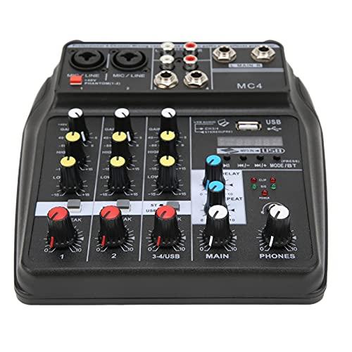 Console di missaggio a 4, mixer a 4 compatto e portatile con effetto riverbero per karaoke da palco